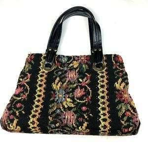 Vintage Boho Floral Carpet Bag Tapestry